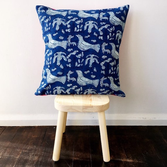 Indigo Bird & Pink Block Print Cotton Cushion Cover