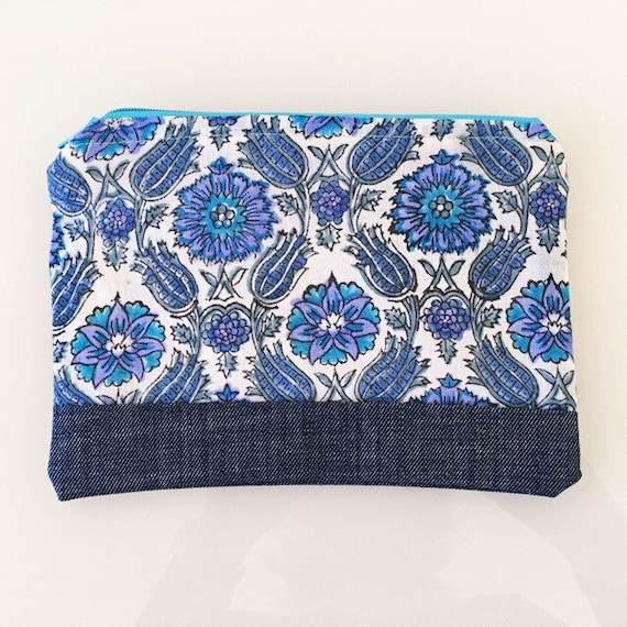 SMALL Zippered Pouch Blue Floral and Denim Blue