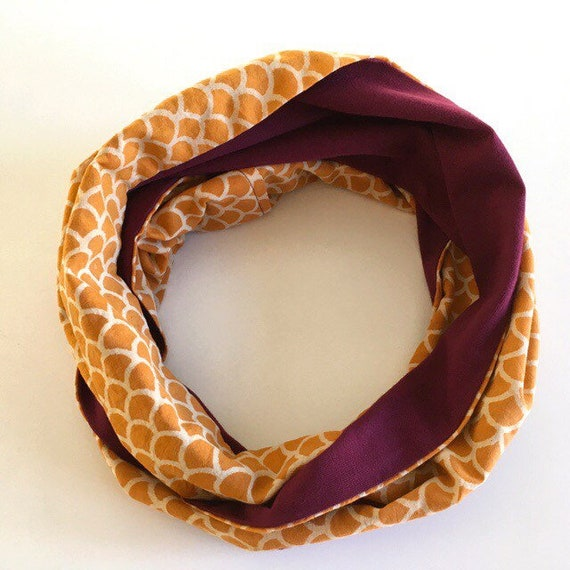 Mustard blockprint and maroon jersey infinty scarf