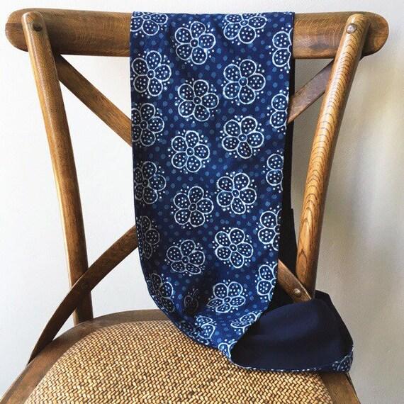Indigo Cotton Blockprint and Navy Jersey Infinity Scarf