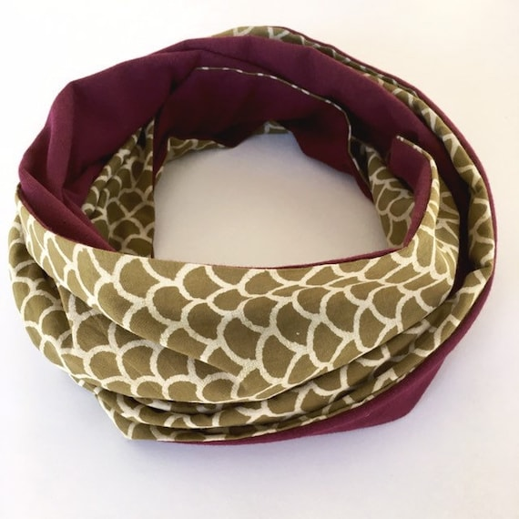 Olive green blockprint and maroon jersey infinty scarf