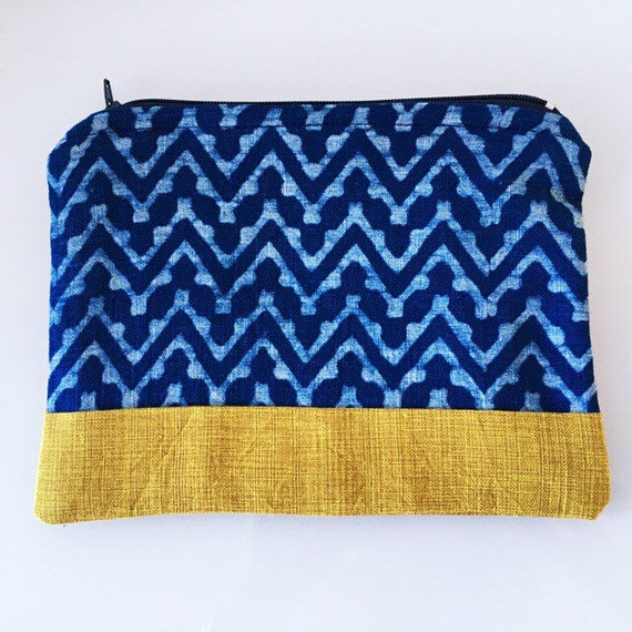 SMALL Zippered Pouch Indigo Blue Chevron and Mustard Yellow