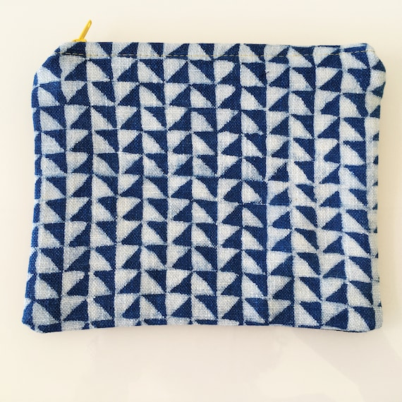 SMALL Zippered Pouch Indigo and White