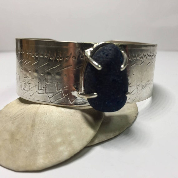 Blue English Sea Glass Fine Silver Cuff set with prongs