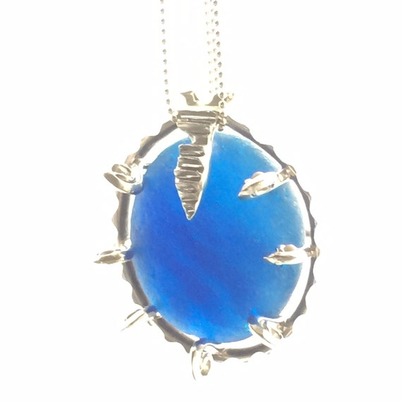 Glorious Blue English Sea Glass Pendant
