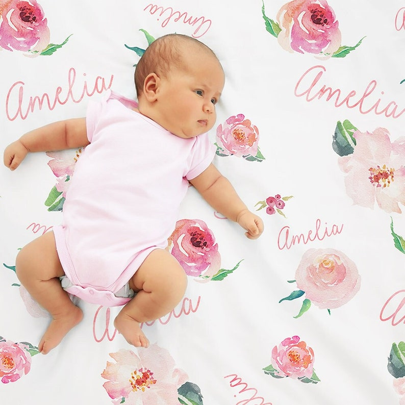 Personalized Baby Girl Name Blanket Floral watercolor print image 0
