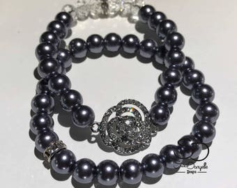 8mm Silver Gray Glass Pearl Beaded with Silver Plated Crystal accents