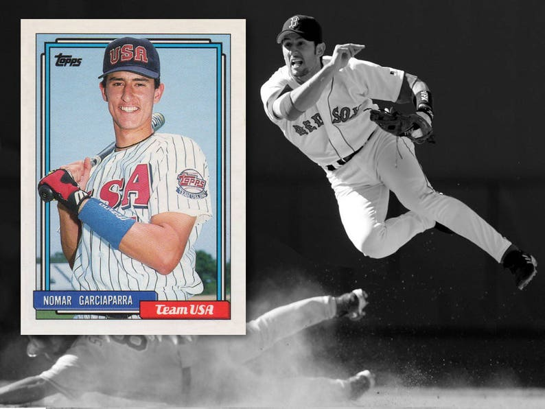 Nomar Garciaparra Rookie Card Baseball Card Boston Red Sox Sports Collectible Topps Traded Cards Team Usa