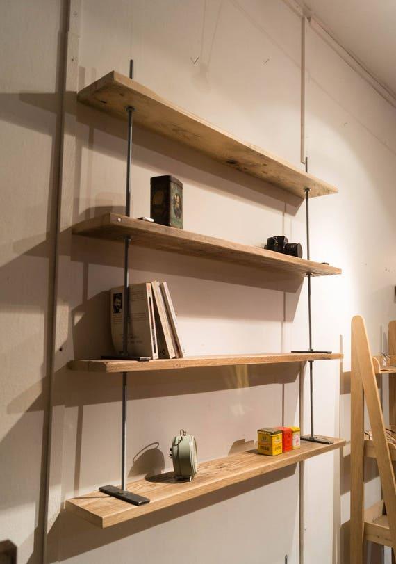 Wonderbaar Plank hout en draadstangen XXL plat boekenplank houten | Etsy UC-92