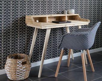 Desk, wooden desk, Scandinavian style office, recycled wooden desk, wooden console, recycled wood hairdresser, natural wood desk,