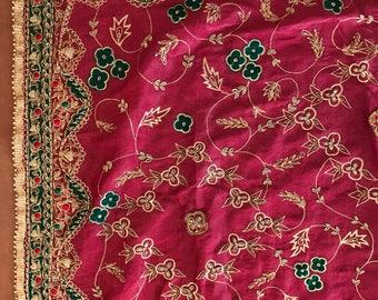 Antique Vintage Wedding Sari Gold Embroidery