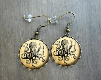 Giant octopus Drop earrings - Glass dome cabochon ,Cabochon earrings , octopus earrings # 70