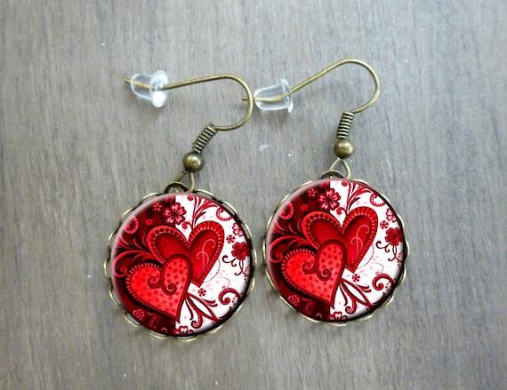 Boucles Doreilles Cœur Damour Rouge Passion Romantique