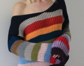 Oversized sweater Rainbow color block sweater Hand knit sweaters for women ready to ship