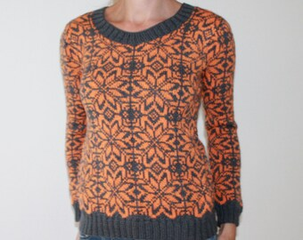 Wool hand knit Fair Isle Jacquard sweater Knit Norwegian tweed winter sweater Nordic jumper Icelandic Bright Handknit pullover Lapopeysa
