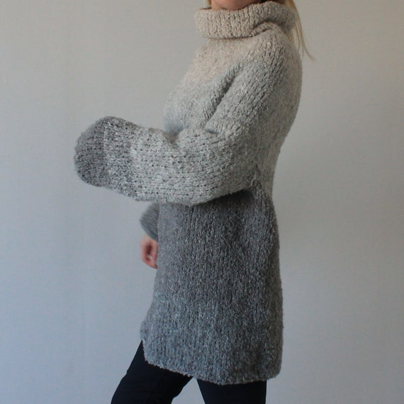 Chunky knit alpaca sweater coat Oversized hand knit wool sweater dress in gray ready to ship