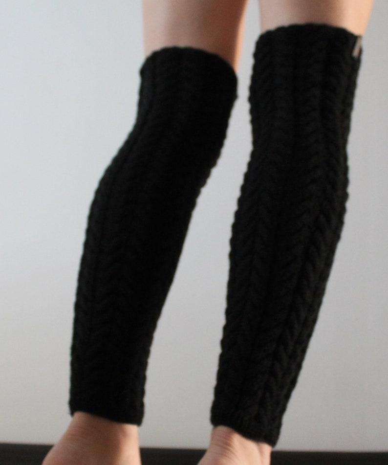 Black leg warmers Womens boot socks Yoga socks