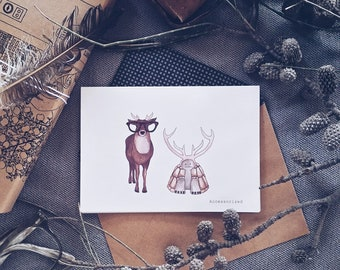 Deer and Tortoise Greeting Card
