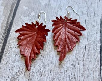 Leather Leaf Earrings. Boho Earrings. Nature Jewellery. Leather Anniversary. Dangle Earrings. Leather Earrings. Autumn Earrings.