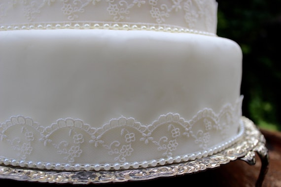 Vintage Elfenbein Spitze Perle Hochzeitstorte Topper Set Etsy