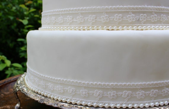 Vintage Ivory Lace Pearl Wedding Cake Topper Set Pearl Etsy
