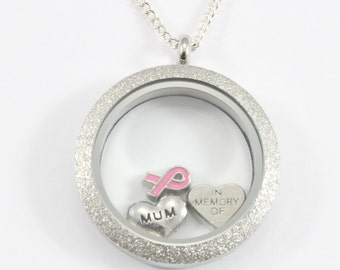 In Memory of, Breast Cancer Gifts, Cancer Jewelry, Fight Like a Girl, Breast Cancer Awareness, Breast Cancer Necklace, Tribute Jewelry