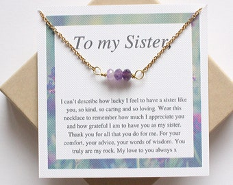 Sister Amethyst Gemstone Bar Necklace PERFECT Meaningful Sister Necklace, Big Sis Necklace, Sister Gift, Sister Birthday Gift, Lil Sis Gift
