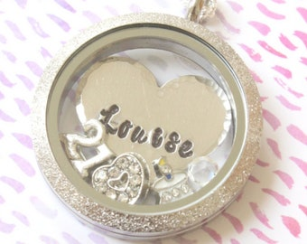 Personalized 21st Birthday Necklace for Daughter, 21st Birthday Jewellery for Daughter, Floating Charm Locket
