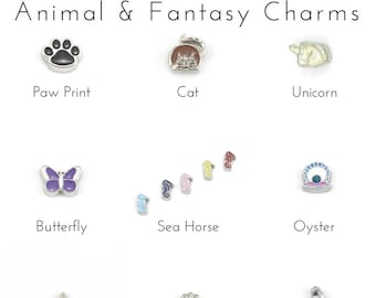 Fantasy and Animal Charms, Floating Locket Charms for Memory Locket, Floating Medallion Necklace, Floating Initial Charms for Lockets