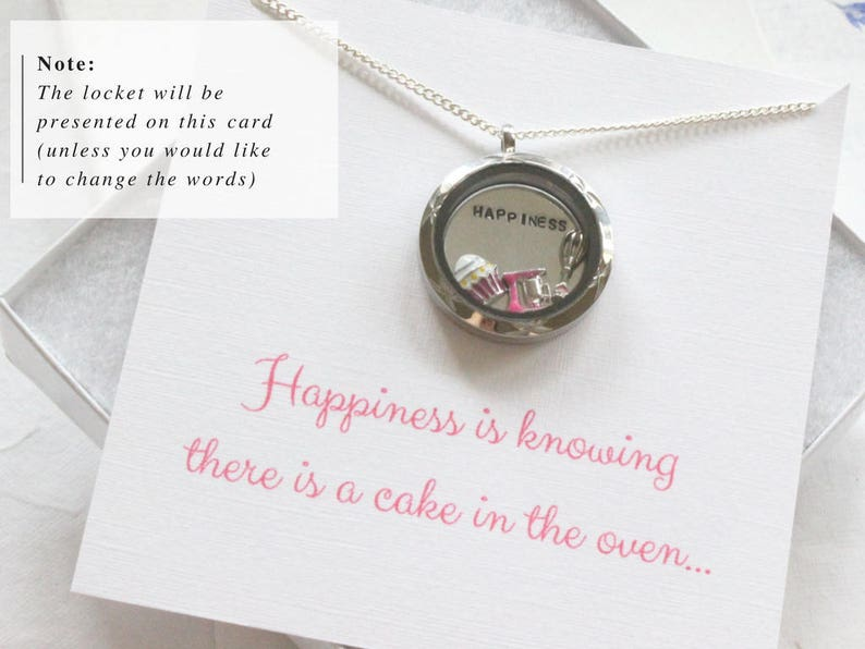 Locket for a Baker Cake Jewelry Baking Themed Gifts Cake Charm Necklace Mothers Day Baking Jewelry Floating Charm Locket Baking Necklace