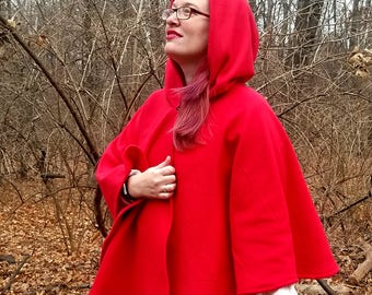 Short Fleece Cloak - Red Full Circle Cloak Cape with hood - Fleece Poncho - Cozy Shawl - Hooded Cloak - Red Riding Hood