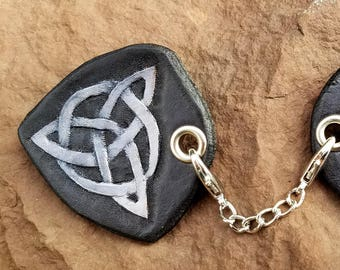 Cloak Clasp - Triple Celtic Knot Screw or Pin Back Removable Clasp - Hand Tooled Leather - Black and Silver Leather