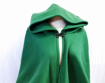 Short Fleece Cloak - Hunter Green Full Circle Cloak Cape with Hood
