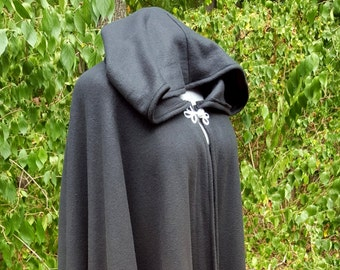 Black Long Cloak - Full Circle Fleece Medieval Renaissance Hooded Cloak - Costume Cape with Hood - Arm Holes and Pockets Available