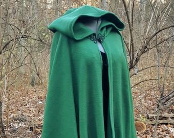 Dark Green Long Cloak - Full Circle Fleece Medieval Renaissance Cape with Hood - Optional Arm Holes and Pockets - Hunter Green