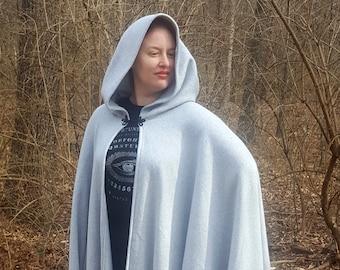Light Grey Long Cloak - Full Circle Fleece Medieval Renaissance Hooded Cloak - Costume Cape with hood