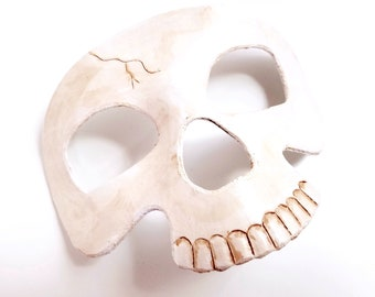Leather Skull Mask - Hand Tooled and Hand Painted Halloween Masquerade Leather Mask
