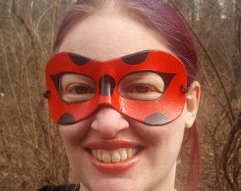 Red Ladybug Domino Mask - Round Edged Molded Leather Mask - Cosplay Costume
