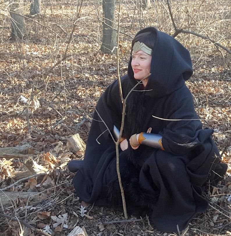 Black Long Cloak with Fur Trim  Full Circle Fleece Medieval image 0