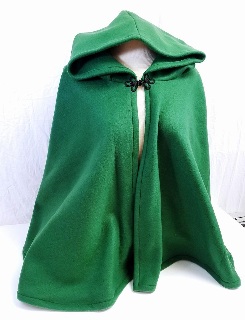 4fe12a6418 Short Fleece Cloak - Hunter Green Full Circle Cloak Cape with Hood