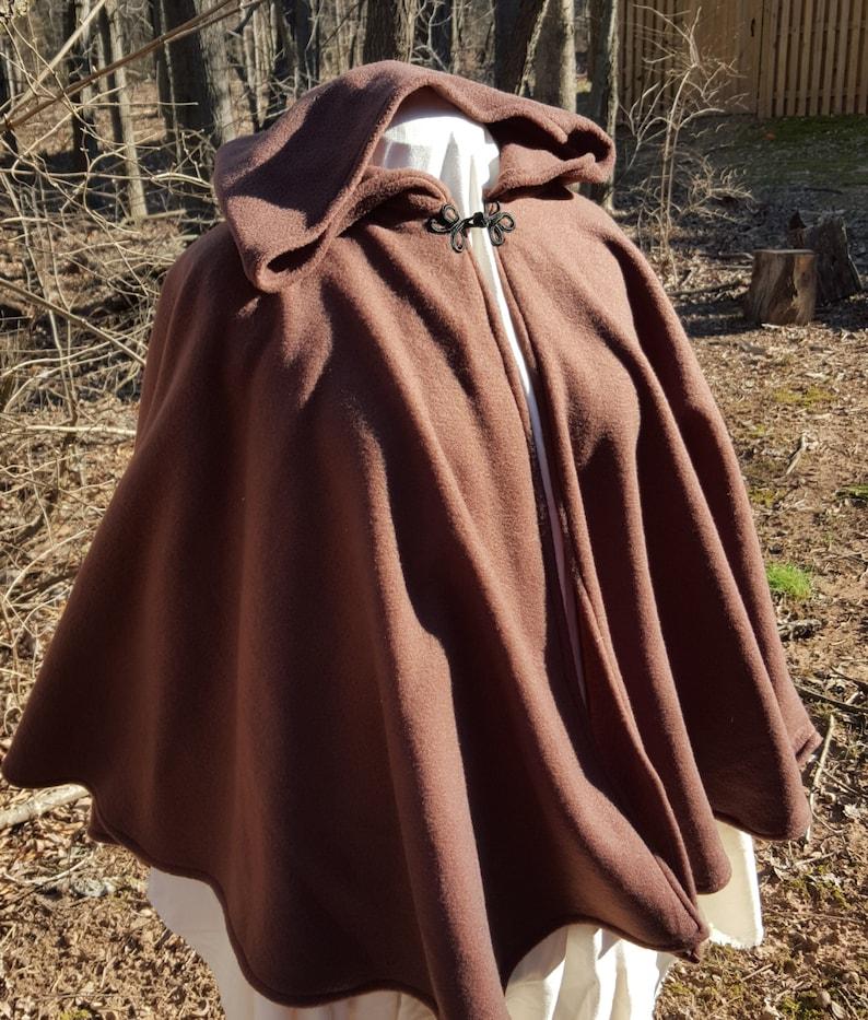 e521e58bf0 Short Fleece Cloak - Dark Brown Full Circle Cloak Cape with Hood