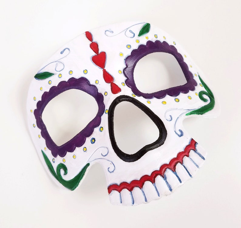 Sugar Skull Mask  Hand Tooled and Hand Painted Leather Mask image 0