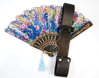 Fan Holder - Leather Fan Holster for Belt - Hand Fan Belt Holster - Summer Festival Accessory Steampunk Renaissance Medieval