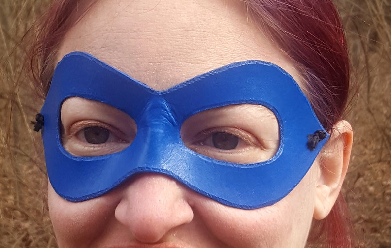 BLUE EYE MASK  MASQUERADE DOMINO FACE SUPER HERO BALL COSTUME PARTY ACCESSORY