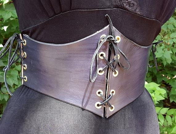 Cuir noir taille serre-taille - Ceinture-Corset serre taille en cuir -  Renaissance Costume Costume médiéval 0cc940926b6