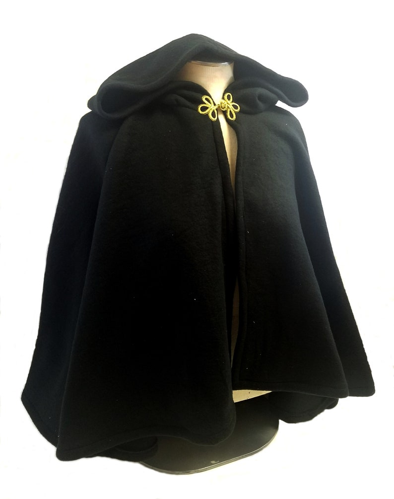 81bcd13f35 Short Fleece Cloak - Black Full Circle Cloak Cape with Hood - Black Fall  Spring Jacket Costume Cloak Capelet Hood