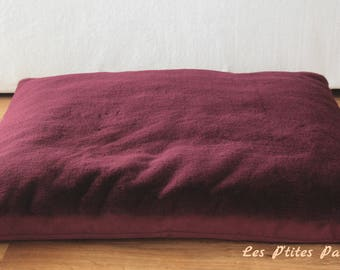 Large dog bed plum colored faux fur and pink fabric