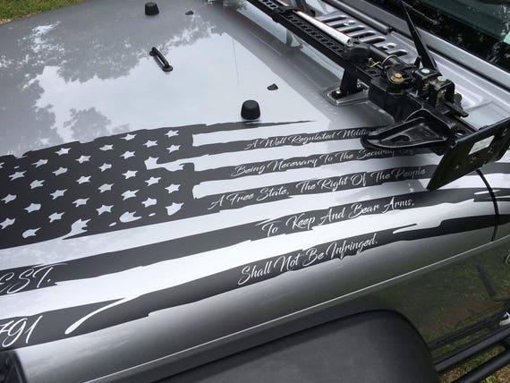 2nd Amendment American Distressed Flag Decal Jeep Hood