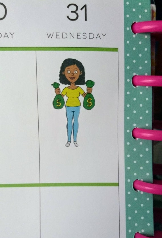 14 Payday Money African American Female Stickers for planners and scrapbooking