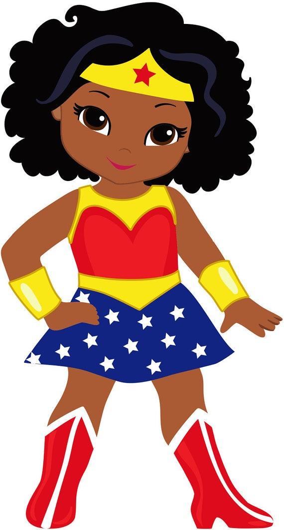 12 Wonder Woman African American Female Superhero Stickers -2822